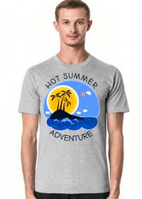 Koszulka męska szara na wakacje i lato - Hot Summer Adventure