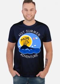 Koszulka męska granatowa na wakacje i lato - Hot Summer Adventure