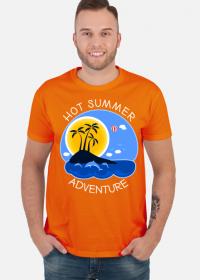 Koszulka męska pomarańczowa na wakacje i lato - Hot Summer Adventure