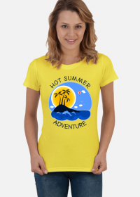 Koszulka damska żółta na wakacje i lato - Hot Summer Adventure