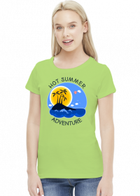 Koszulka damska zielona na wakacje i lato - Hot Summer Adventure