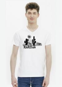 Koszulka męska biała na wakacje i lato - Kaktus