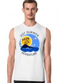 Koszulka męska biała bezrękawnik na wakacje i lato - Hot Summer Adventure