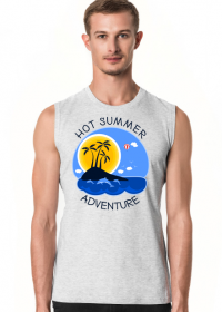 Koszulka męska szara bezrękawnik na wakacje i lato - Hot Summer Adventure