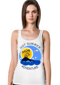 Koszulka damska biała na ramiączkach na wakacje i lato - Hot Summer Adventure