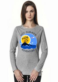 Koszulka damska szara z długim rękawem na wakacje i lato - Hot Summer Adventure