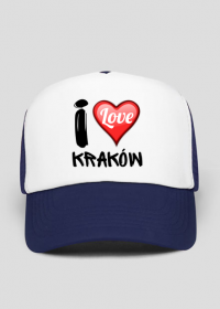 Czapka z daszkiem biało-niebieska - I Love Kraków