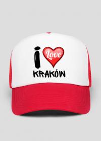 Czapka z daszkiem czarwono-biała - I Love Kraków