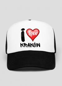 Czapka z daszkiem czarno-biała - I Love Kraków