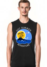 Koszulka męska czarna bezrękawnik na wakacje i lato - Hot Summer Adventure