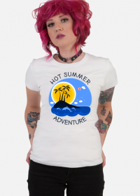 Koszulka damska biała na wakacje i lato - Hot Summer Adventure