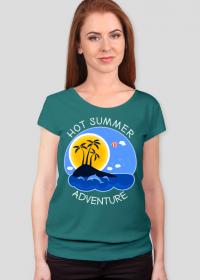 Koszulka damska turkusowa na wakacje i lato - Hot Summer Adventure