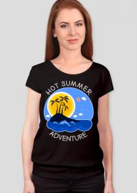 Koszulka damska czarna na wakacje i lato - Hot Summer Adventure