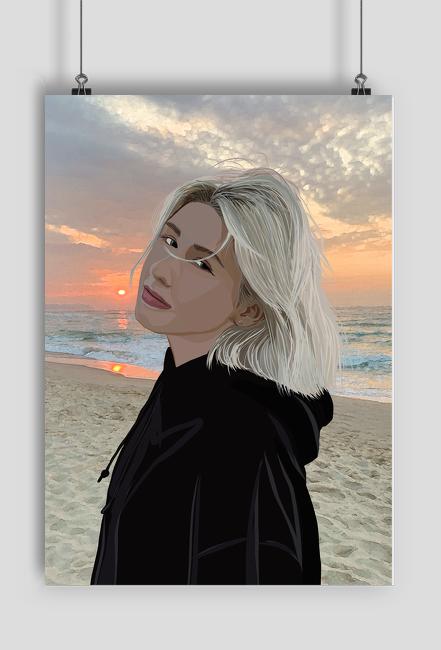 Plakat dziewczyna na plazy