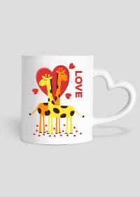 Zakochane Żyrafy - Biały kubek z sercem