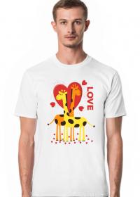 Zakochane Żyrafy - Biała koszulka męska