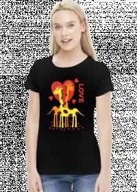 Zakochane Żyrafy - Czarna koszulka damska