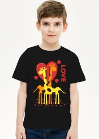 Zakochane Żyrafy - Czarna koszulka dziecięca