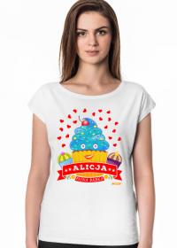 Alicja Fajna Babka - Koszulka damska biała z imieniem