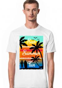 Sun Summer Fun - Biały męski tshirt