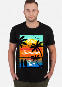 Sun Summer Fun - Czarna koszulka męska