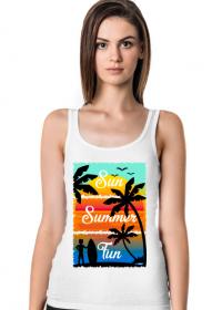 Sun Summer Fun - Damska koszulka biała na ramiączkach