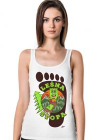 Leśna Stopa - Damska koszulka biała na ramiączkach