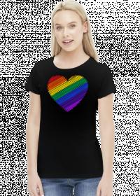Tęcza serce koszulka damska