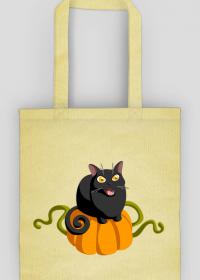 Czarny kot dynia torba ekologiczna