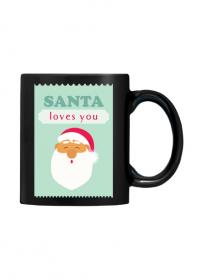 Santa loves you - czarny świąteczny kubek z nadrukiem Mikołaj