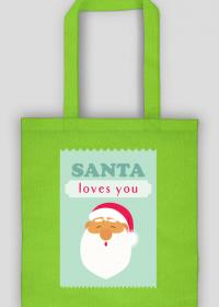Santa loves you - świąteczna torba z nadrukiem