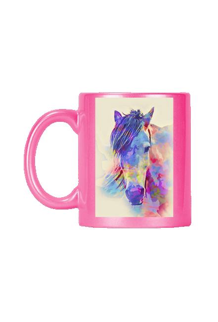 różowy kubek z głową konia kolor