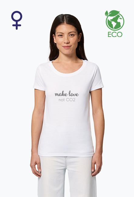 Make love, not CO2 - koszulka damska, kolor biały