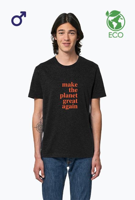 Make the planet grat again - koszulka męska, kolor czarny