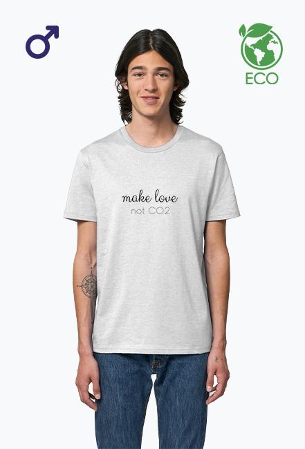 Make love, not CO2 - koszulka męska, kolor biały