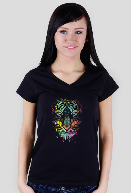 Neon Tiger Wildlife Collection t-shirt damski