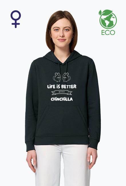 Bluza damska z szynszylami z kapturem ECO 2