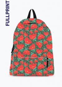 plecak z nadrukiem w czerwone kwiaty