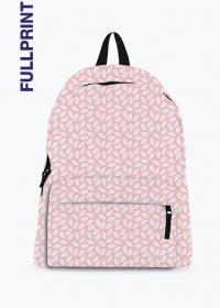 jasno różowy plecak z nadrukiem w drobne białe liście