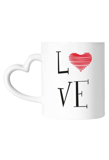 Kubek z uszkiem serduszkiem - Love (Prezent na Dzień Kobiet)