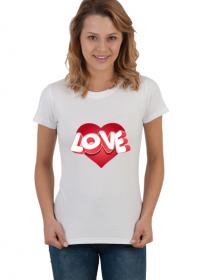 Serce Love - koszulka damska (Prezent na Walentynki dla niej)