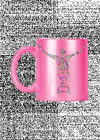 Różowy kubek ceramiczny z efektem ALU  *DNA