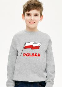 Bluza dziecieca patriotyczna z dlugim rekawem bialo-czerwona flaga Polska