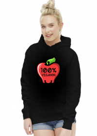 100% Veganin - Bluza damska z kapturem