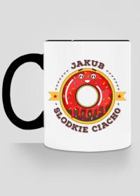 Jakub Słodkie Ciacho - Kubek biało-kolorowy z imieniem