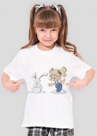 Koszulka dziewczęca - dziewczynka i zając